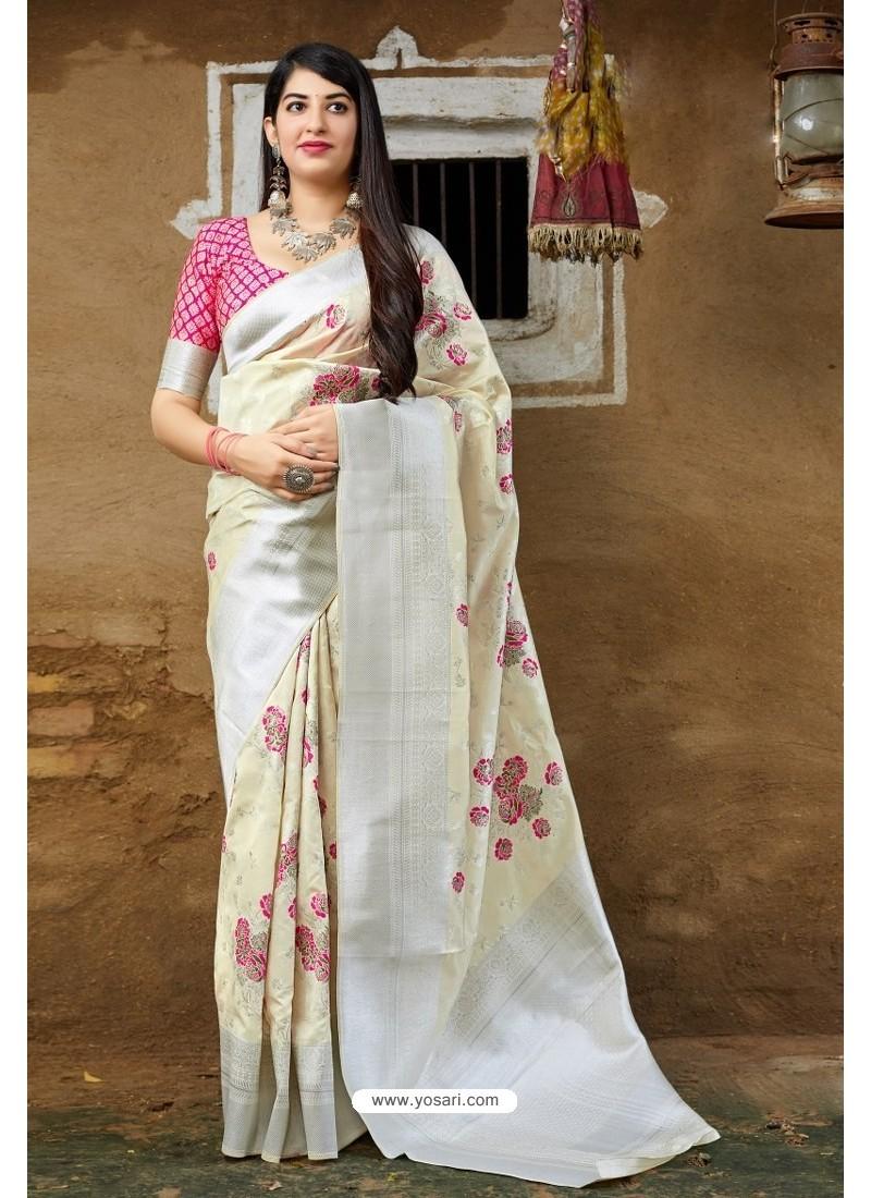 White Embroidered Designer Banarasi Silk Party Wear Sari