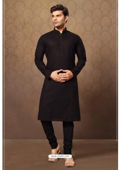 Black Readymade Cotton Polly Kurta Pajama For Men