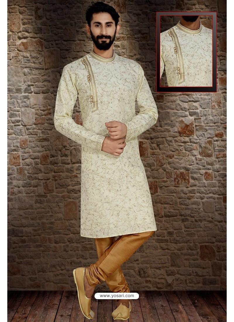 Off White Readymade Dhupion Silk Designer Kurta Pajama For Men