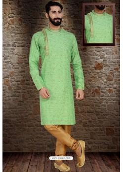 Green Readymade Dhupion Silk Designer Kurta Pajama For Men