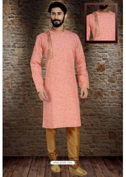 Peach Readymade Dhupion Silk Designer Kurta Pajama For Men