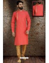 Red Readymade Dhupion Silk Designer Kurta Pajama For Men