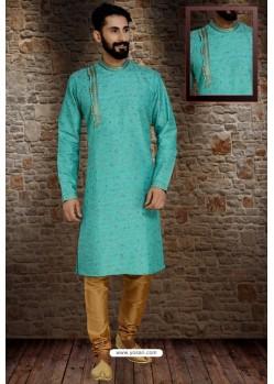 Turquoise Readymade Dhupion Silk Designer Kurta Pajama For Men