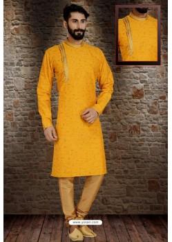 Yellow Readymade Dhupion Silk Designer Kurta Pajama For Men