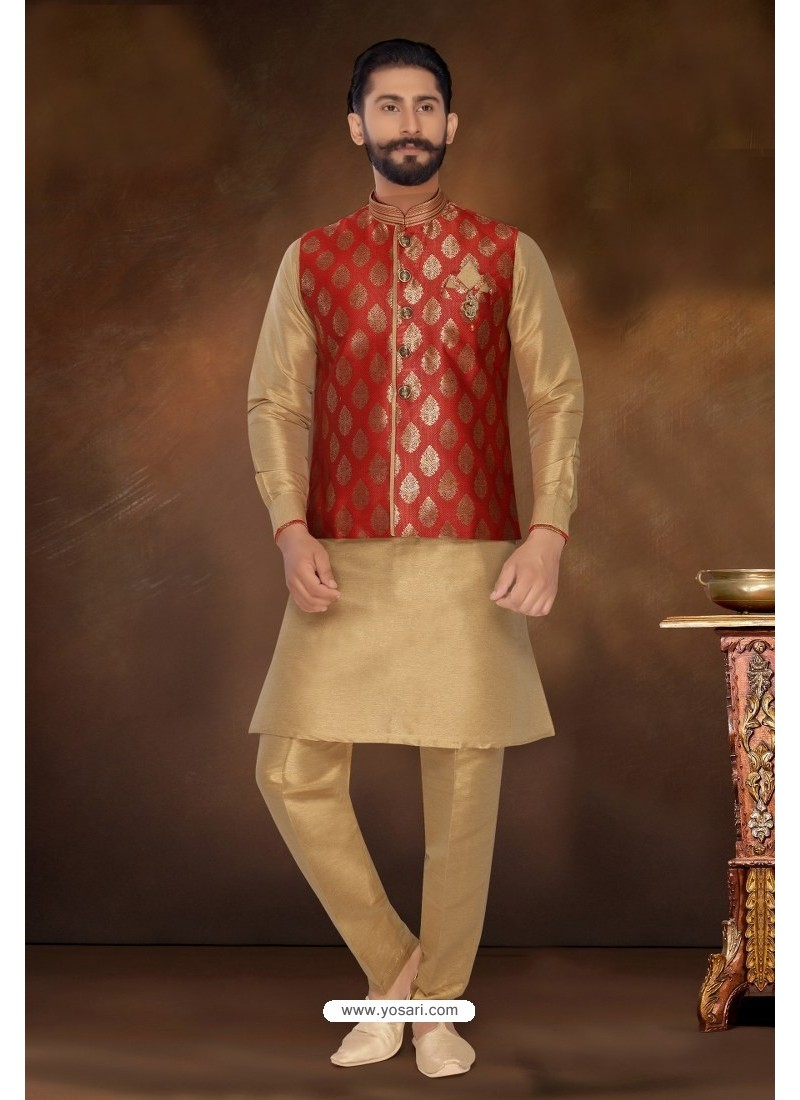 Gold Readymade Dhupion Silk Designer Kurta Pajama With Jacket For Men