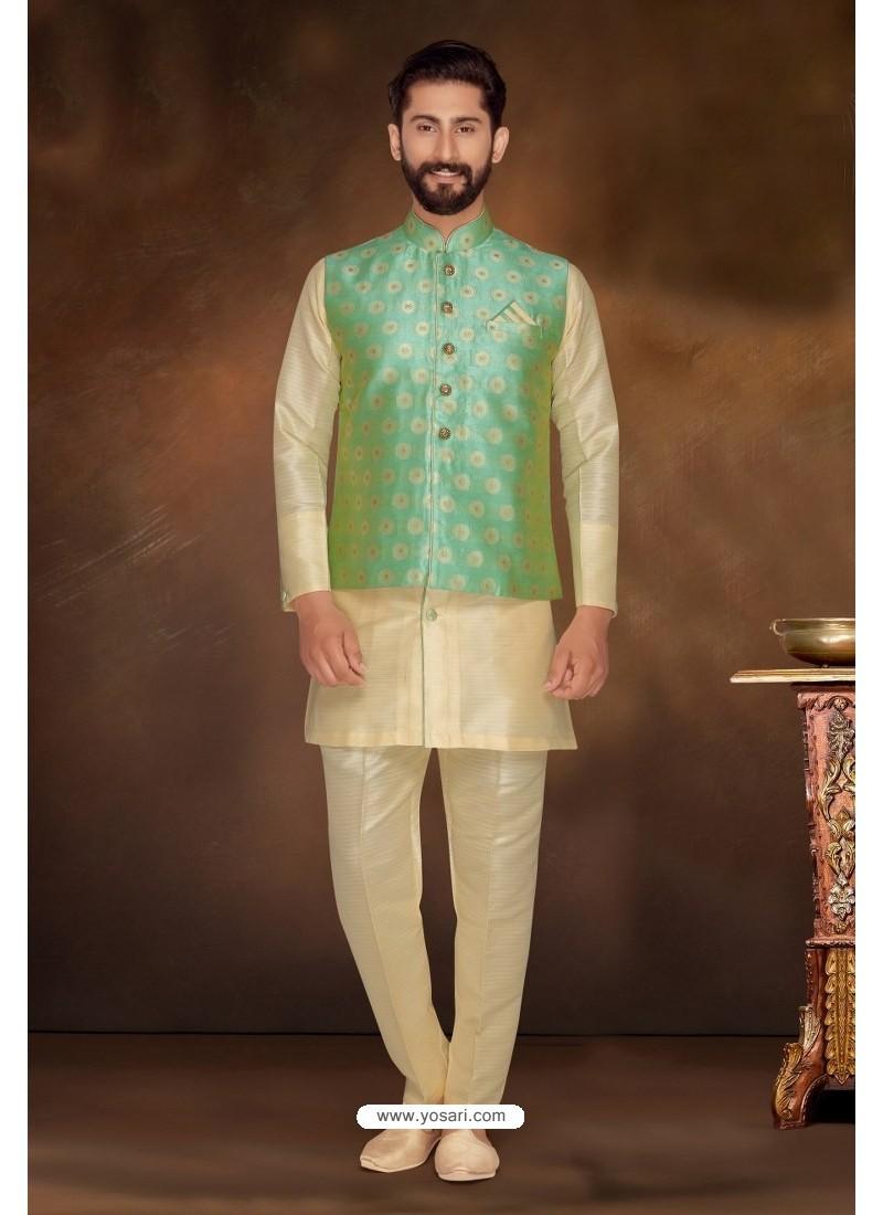 Light Beige Readymade Dhupion Silk Designer Kurta Pajama With Jacket For Men