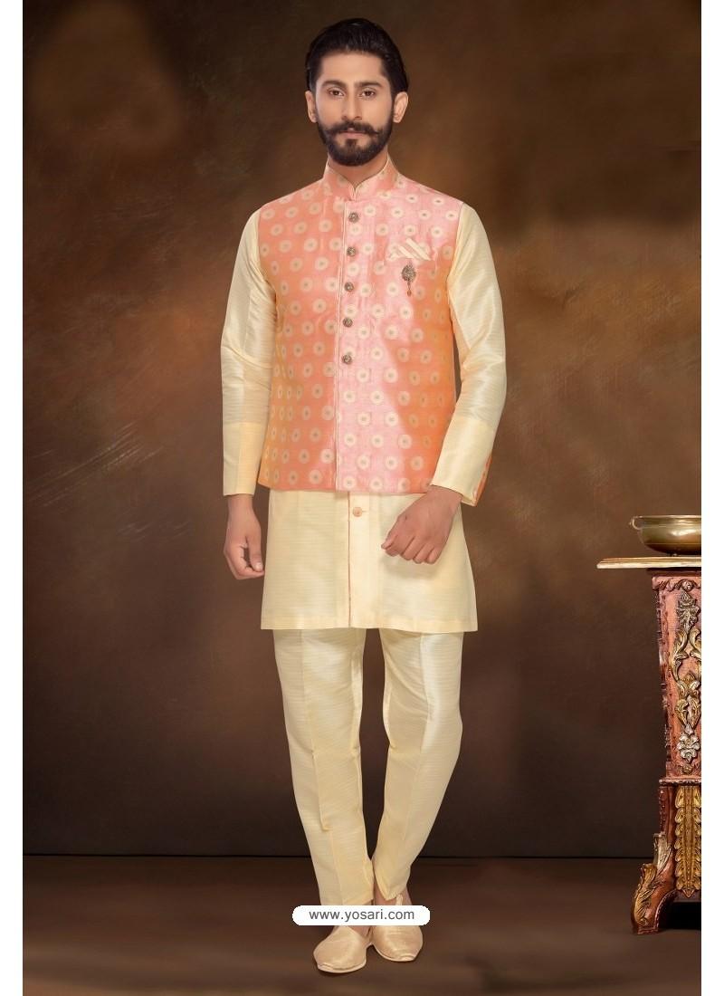 Cream Readymade Dhupion Silk Designer Kurta Pajama With Jacket For Men