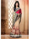 Red And Cream Cotton Pallu Designer Saree