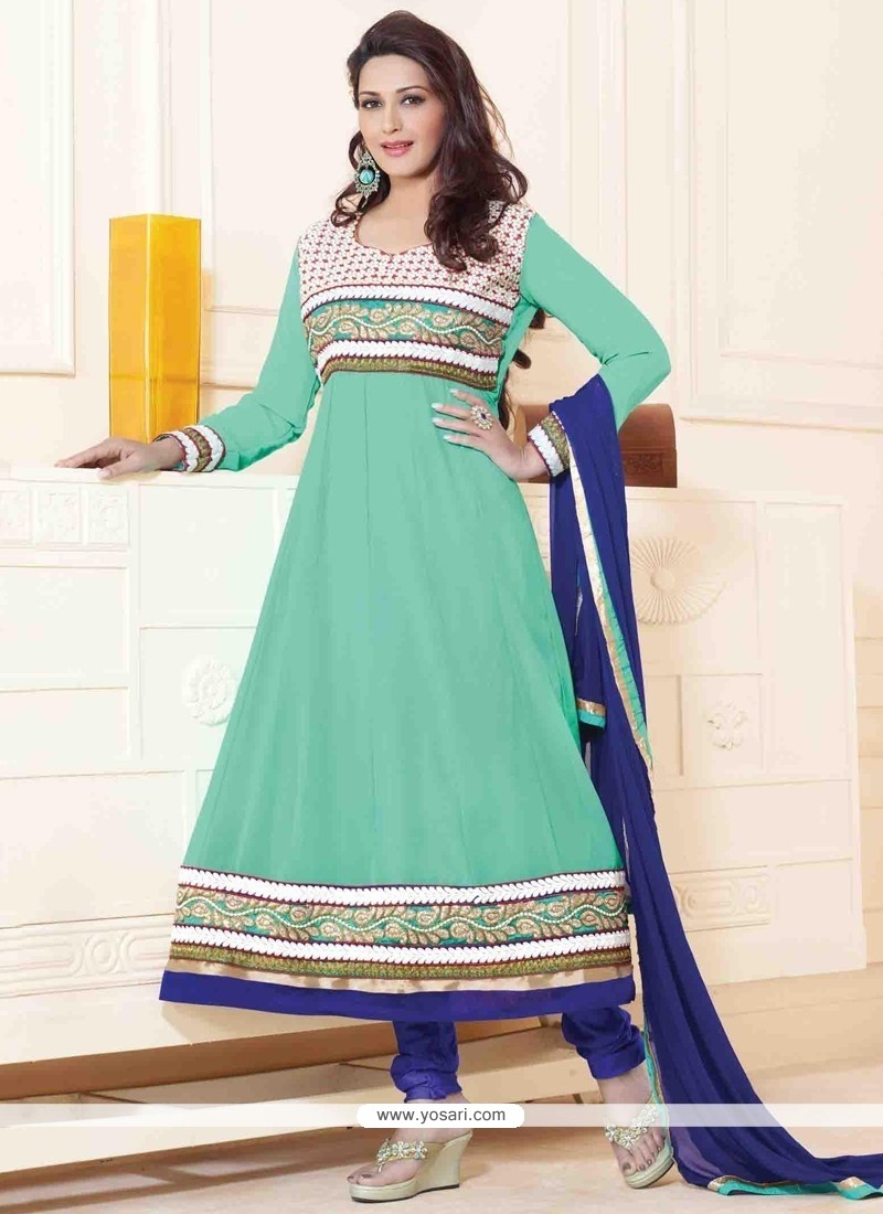Sonali Bendre Resham Work Anarkali Suit