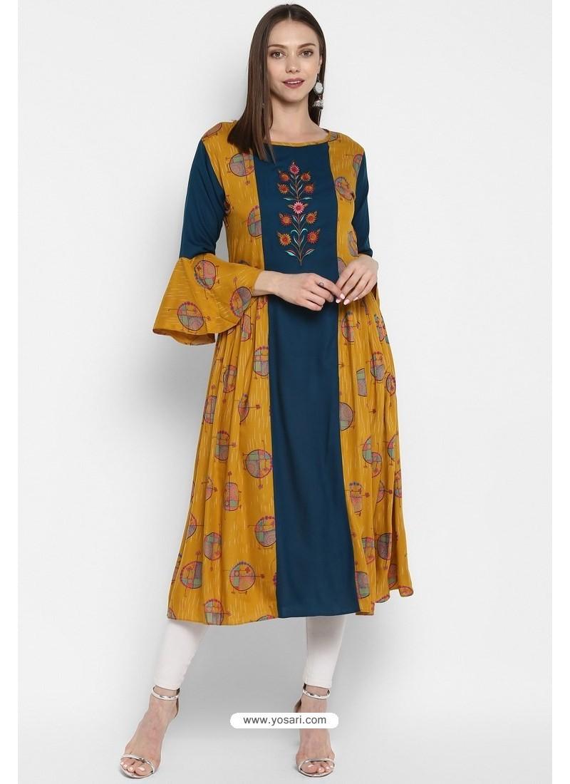 Teal Blue Designer Party Wear Readymade Rayon Kurti