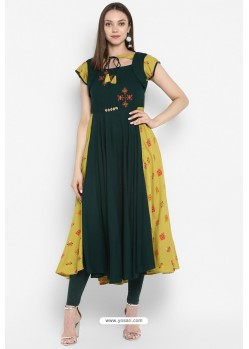 Dark Green Designer Party Wear Readymade Rayon Kurti