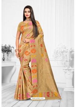 Beige Designer Banarasi Art Silk Party WearᅠSari