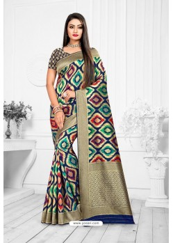 Multi Colour Designer Banarasi Art Silk Party WearᅠSari