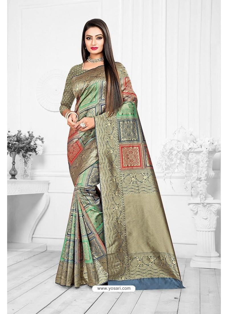 Taupe Designer Banarasi Art Silk Party WearᅠSari