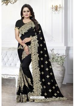 Black Heavy Embroidered Designer Art Silk Party Wear Sari