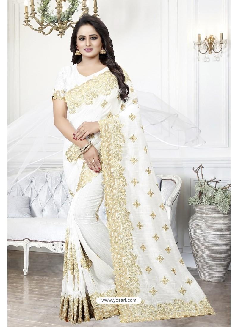 White Heavy Embroidered Designer Art Silk Party Wear Sari