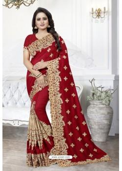Red Heavy Embroidered Designer Art Silk Party Wear Sari