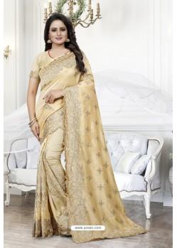 Cream Heavy Embroidered Designer Art Silk Party Wear Sari