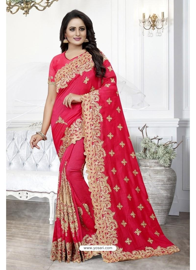 Dark Peach Heavy Embroidered Designer Art Silk Party Wear Sari