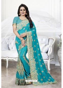 Turquoise Heavy Embroidered Designer Art Silk Party Wear Sari
