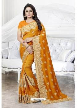 Mustard Heavy Embroidered Designer Art Silk Party Wear Sari