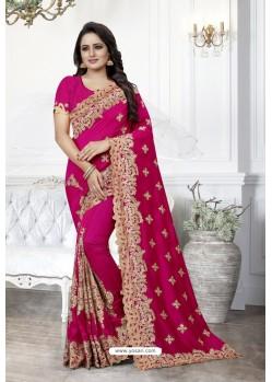 Rani Heavy Embroidered Designer Art Silk Party Wear Sari