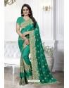 Jade Green Heavy Embroidered Designer Art Silk Party Wear Sari