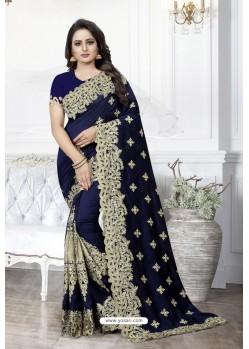 Navy Blue Heavy Embroidered Designer Art Silk Party Wear Sari