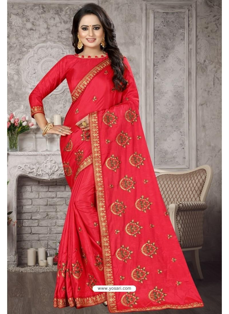 Dark Peach Heavy Embroidered Designer Satin Silk Party Wear Sari