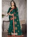 Dark Green Heavy Embroidered Designer Satin Silk Party Wear Sari
