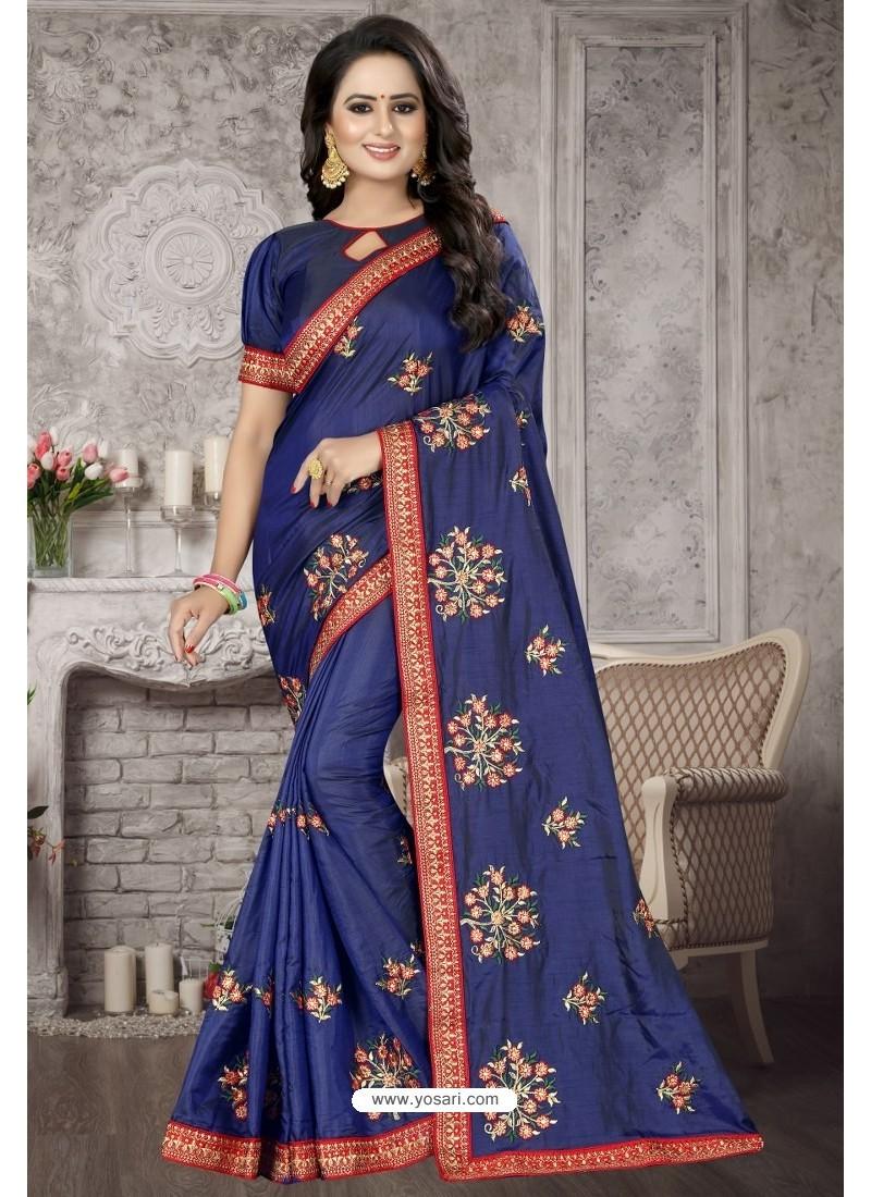 Dark Blue Heavy Embroidered Designer Satin Silk Party Wear Sari