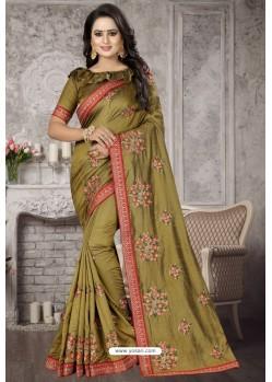 Mehendi Heavy Embroidered Designer Satin Silk Party Wear Sari
