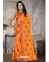 Orange Heavy Embroidered Designer Satin Silk Party Wear Sari