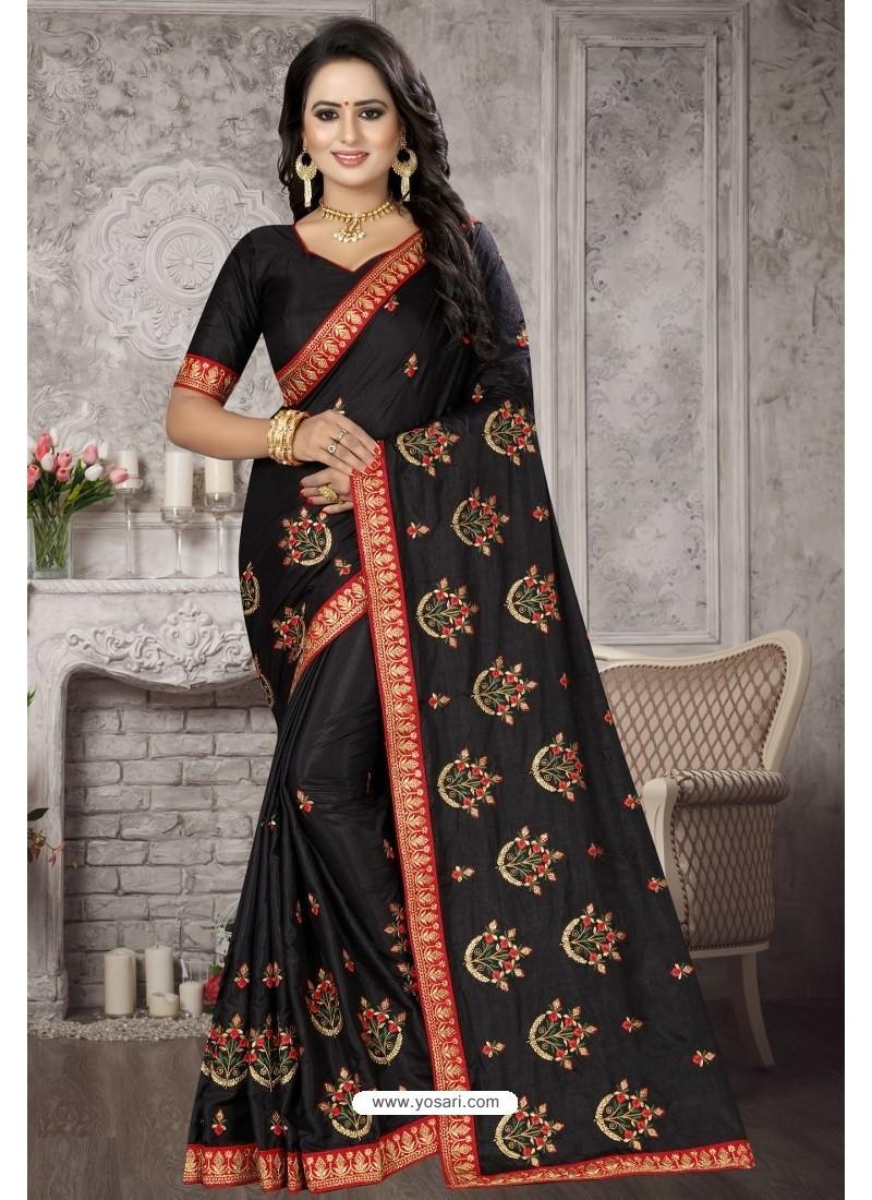Black Heavy Embroidered Designer Satin Silk Party Wear Sari