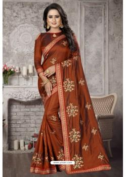Brown Heavy Embroidered Designer Satin Silk Party Wear Sari