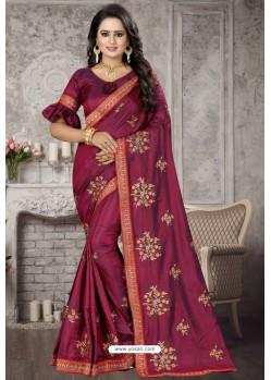 Deep Wine Heavy Embroidered Designer Satin Silk Party Wear Sari