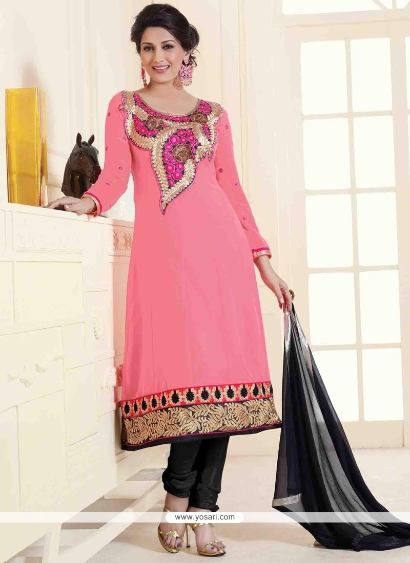 Sonali Bendre Georgette Lace Work Hot Pink Churidar Designer Suit