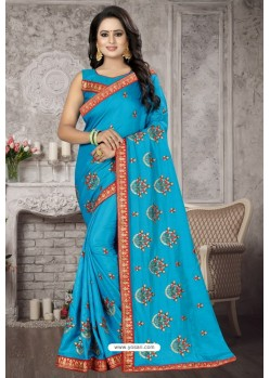 Turquoise Heavy Embroidered Designer Satin Silk Party Wear Sari