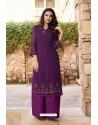 Purple Heavy Party Wear Soft Silk Readymade Kurti With Palazzo