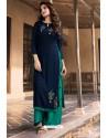 Navy Blue Heavy Party Wear Soft Silk Readymade Kurti With Palazzo