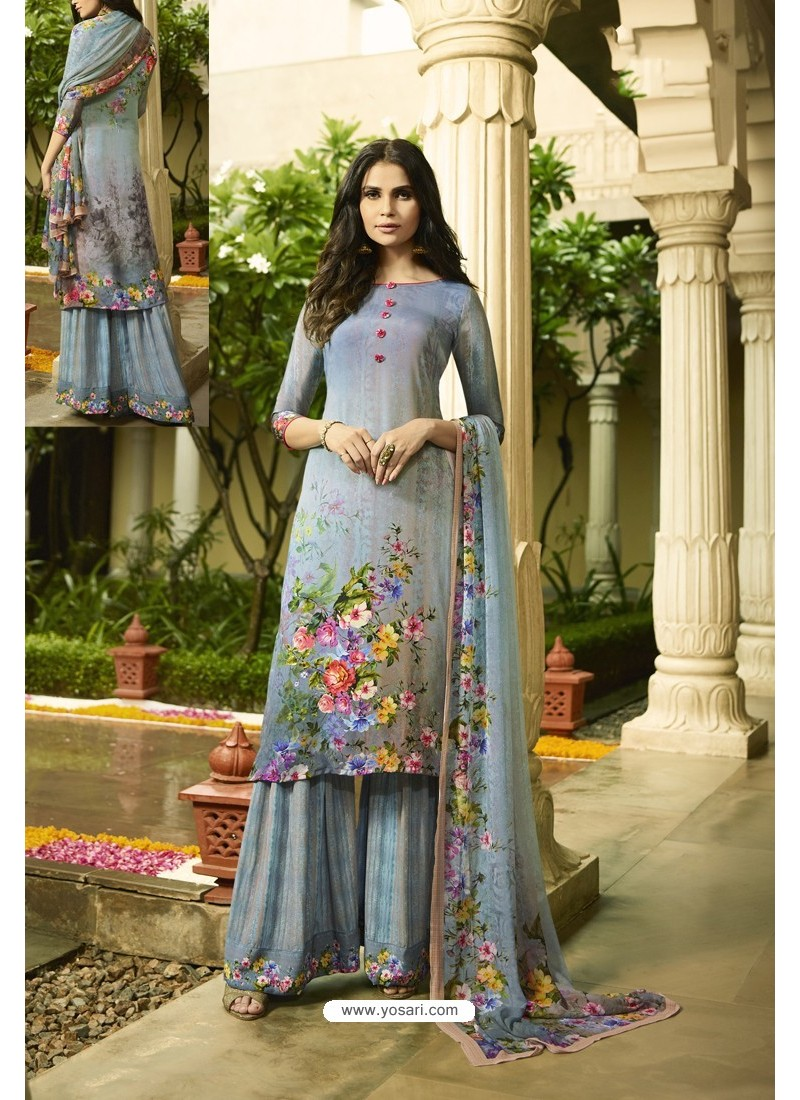 Aqua Grey Designer Party Wear Crepe Palazzo Salwar Suit