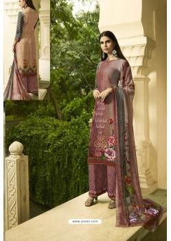 Dusty Pink Designer Party Wear Crepe Palazzo Salwar Suit