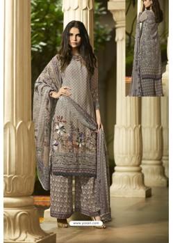 Grey Designer Party Wear Crepe Palazzo Salwar Suit