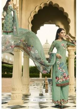 Sea Green Designer Party Wear Crepe Palazzo Salwar Suit