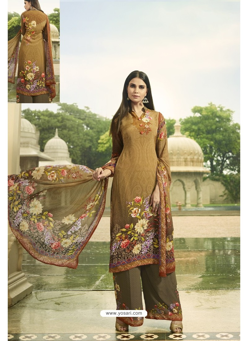 Marigold Designer Party Wear Crepe Palazzo Salwar Suit