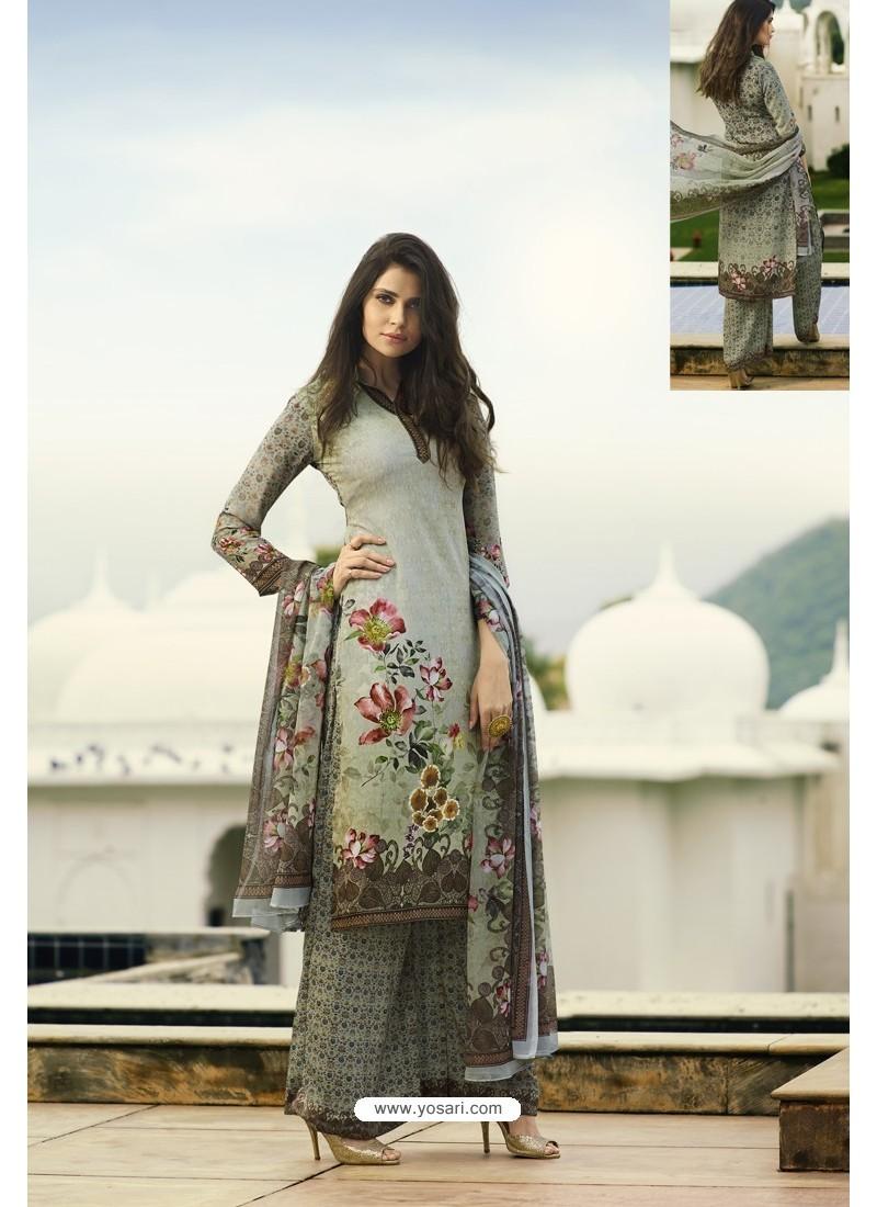 Light Grey Designer Party Wear Crepe Palazzo Salwar Suit