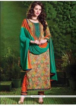 Arresting Resham Work Multi Colour Cotton Salwar Suit