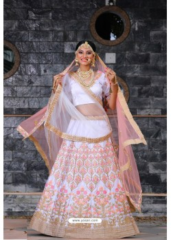 White Heavy Embroidered Designer Party Wear Lehenga Choli