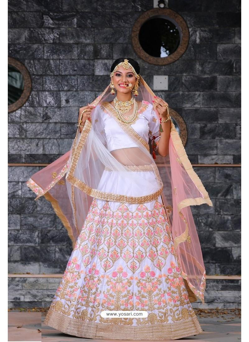 White Heavy Embroidered Designer Party Wear Lehenga Choli