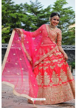 Dark Peach Heavy Embroidered Designer Party Wear Lehenga Choli